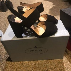 "Prada Sandals, size 6-1/2, heel 3/3/4"". Authentic."